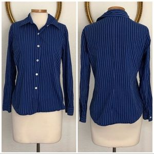 Gap | Blue White Stripe Long Sleeve Button Up